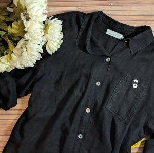 Tops - Loose Fit Black Button Down Shirt